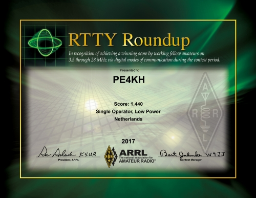 certificate for PE4KH in the ARRL RTTY Roundup 2017