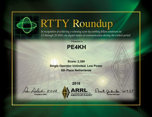 certificate for PE4KH in the ARRL RTTY Roundup 2018