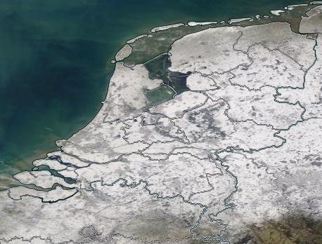 Satellite image of the Netherlands 2021-02-13 with snow cover. I acknowledge the use of imagery provided by services from NASA's Global Imagery Browse Services (GIBS), part of NASA's Earth Observing System Data and Information System (EOSDIS).